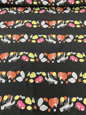 Food and Lobster Printed Silk Crepe de Chine - Washed Black / Multicolor