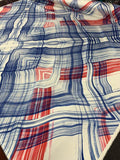 Diagonal Wavy Painterly Plaid Printed Silk Twill - Red / White / Blue