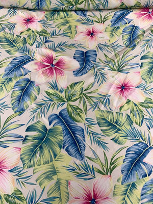 Tropical Floral Printed Heavy Silk Habotai - Multicolor