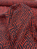 Graphic Wavy Linear Art Deco Printed Stretch Silk Georgette - Red / Black