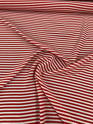 Candy Stripe Printed Silk Crepe de Chine - Red / White