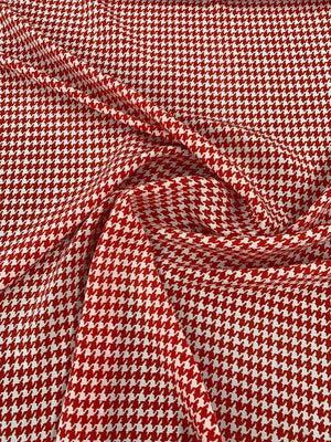 Houndstooth Printed Silk Crepe de Chine - Red / White