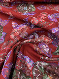 Novelty Sequined Floral Embroidered Wool Coating - Red / Purple / Green