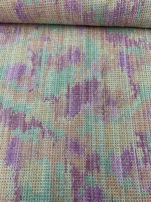 Novelty Chanel-Like Abstract Knubbed Wool-Like Tweed - Orange / Green / Purple