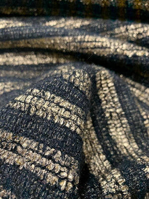 Metallic Foil Striped Printed Woven Wool Tweed Coating - Black / Gold