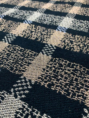 Metallic Plaid Woven Tweed - Black / Gold