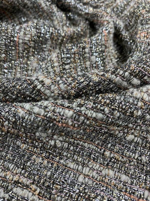 Classic Woven Tweed with Lurex - Silver / Ivory / Salmon