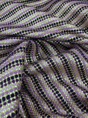 Timeless Striped Woven Wool Tweed Suiting - Metallic Gold / Purple