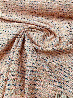 Italian Chanel-Like Tweed Suiting - Neon Orange / Pink / Blue / Cream