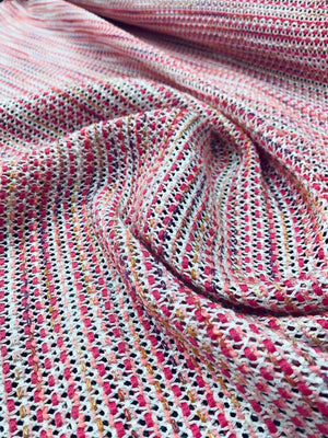 Woven Open-Weave  Tweed Suiting - Pink / White / Coral