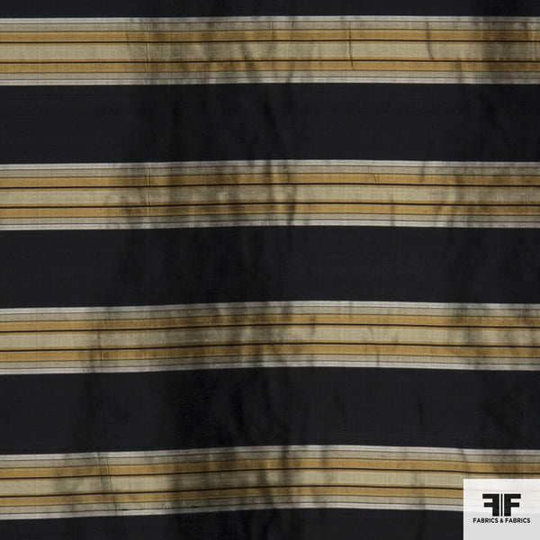 Striped Silk Shantung - Black/Yellow