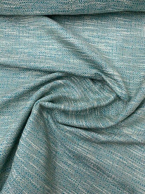 Woven Tweed Suiting - Turquoise / Ivory