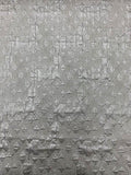 Metallic Art Deco Textured Brocade - Silver