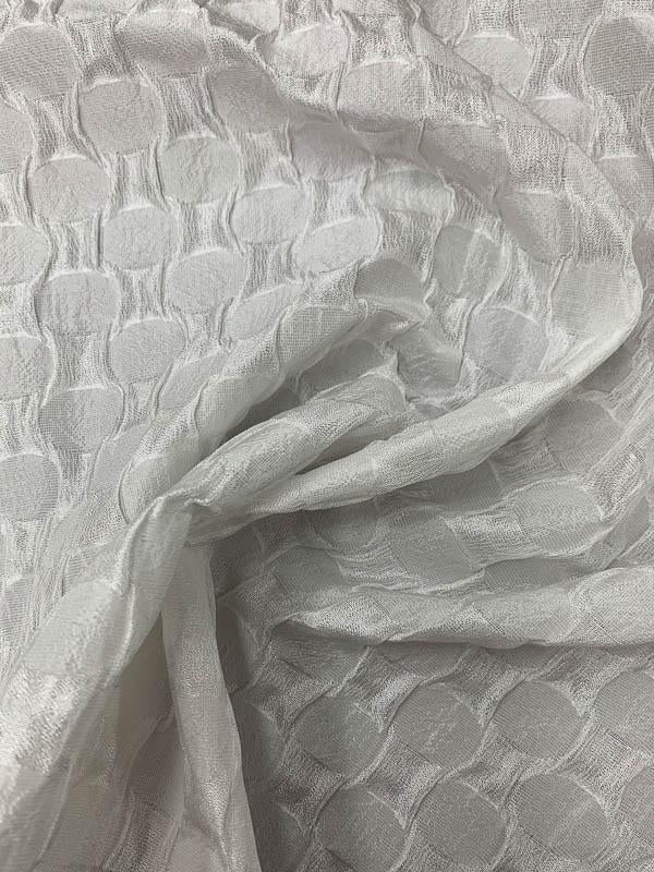 Art Deco Puckered Brocade - White