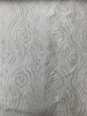 Spiral Torch Metallic Brocade - Silver / White