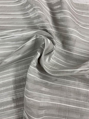 Horizontal Striped Brocade - Grey / White