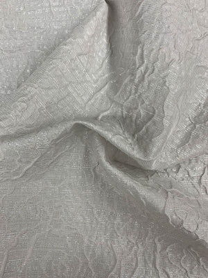 Textured Floral Light Weight Brocade with Lurex - Light Grey / Silver