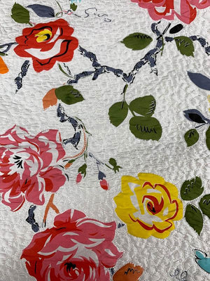 Quilted Stitched Floral Printed Silk Shantung - Multicolor