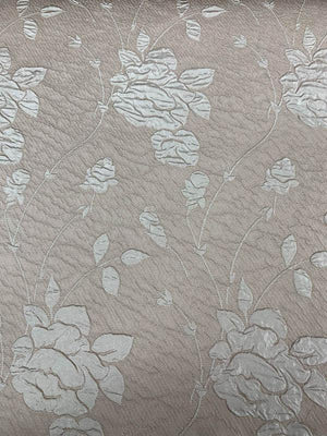 Floral Textured Light Weight Brocade - Tan