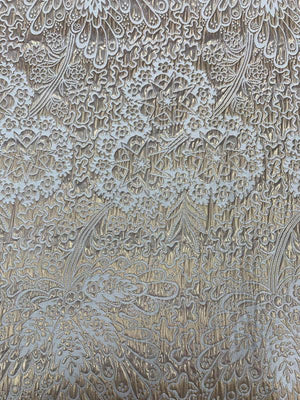 Groovy Stars and Floral Textured Metallic Brocade - Gold / Off-White
