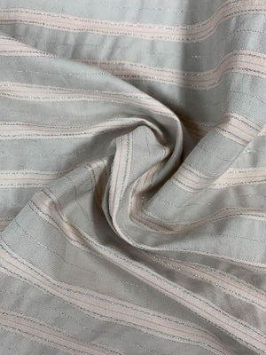 Horizontal Striped Brocade with Lurex - Soft Pink / Grey / Silver