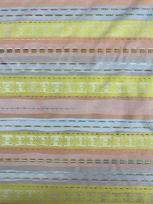 Horizontal Striped Brocade with Raffia Stitching - Multicolor