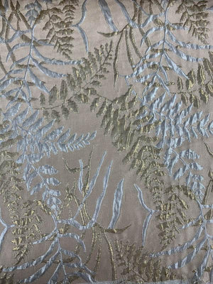 Fern Leaf Textured Metallic Brocade - Gold / Silver / Taupe