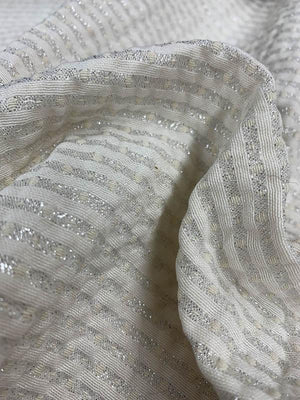 Reversible Metallic Striped and Pin Dot Brocade - Cream / Silver