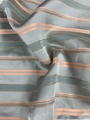 Horizontal Striped Brocade - Grey / Salmon / Light Blue