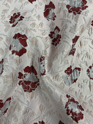 Floral Textured Brocade with Metallic Lurex - Dusty Pink / Wine / Silver