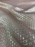Art Deco Basketweave-Look Metallic Brocade - Pink / Silver