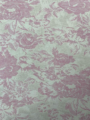 Upholstery Weight Floral Brocade - Cream / Pink