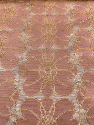 Floral Grid Ottoman Brocade - Salmon / Orange / Light Pink
