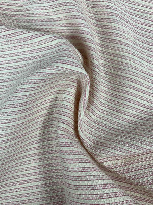 Horizontal Striped Woven Suiting - Cream / Magenta