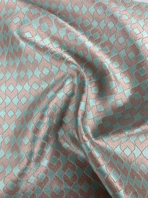 Art Deco Shiny Brocade - Dusty Rose / Seafoam Blue