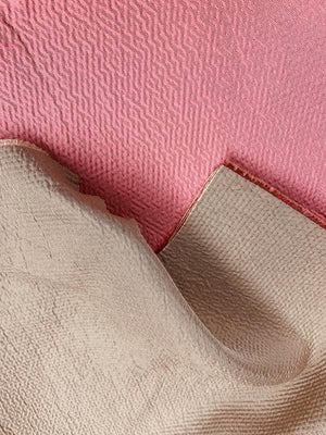 Hammered Look Double-Sided Brocade - Pink / Taupe