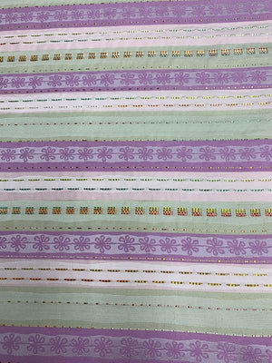 Horizontal Striped Brocade with Raffia Stitching - Purple / Pink / Taupe