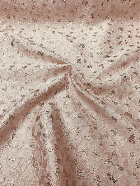 Pamella Roland Textured Abstract Brocade - Blush / Gold