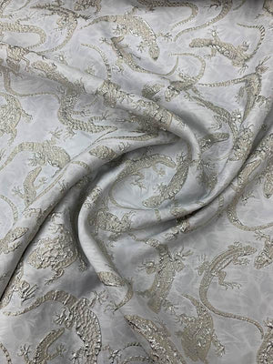 Lizards Textured Metallic Brocade - White / Ivory / Silver