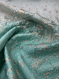 Pamella Roland Novelty Abstract Metallic and Ombre Matelasse Brocade Panel - Aqua / Silver-Gold