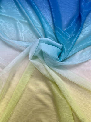Ombré with Metallic Pinstripe Silk Chiffon - Blue / Aqua / Yellow