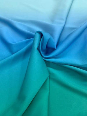 Ombre Stretch Heavy-Weight Silk Georgette - Aqua / Blue / Green