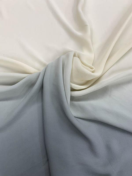 Ombre Silk Georgette - Ivory / Grey