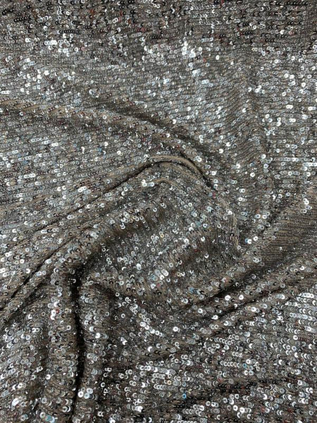 Horizontal Small Sequins Design on Nude Stretch Netting - Silver / Nude