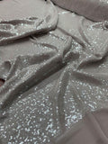 J Mendel Clear Small Sequins on Poly Chiffon - Taupe