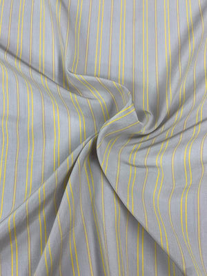 Vertical Striped Printed Silk Crepe de Chine - Grey / Yellow