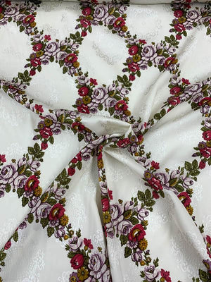 Floral Lattice Printed Stretch Silk Jacquard - Multicolor / Ivory