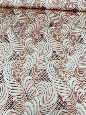 Art Deco Floral Printed Silk Charmeuse - Pink / Maroon / Cream
