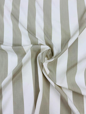 Vertical Striped Printed Silk Crepe de Chine - Taupe / Ivory