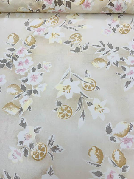 Fruits and Floral Distressed-Look Printed Silk Crepe de Chine - Beige / Grey / Off-White